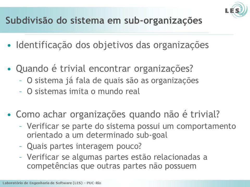 Laboratório de Engenharia de Software (LES) – PUC-Rio Subdivisão do sistema em sub-organizações Identificação dos objetivos das organizações Quando é trivial encontrar organizações.