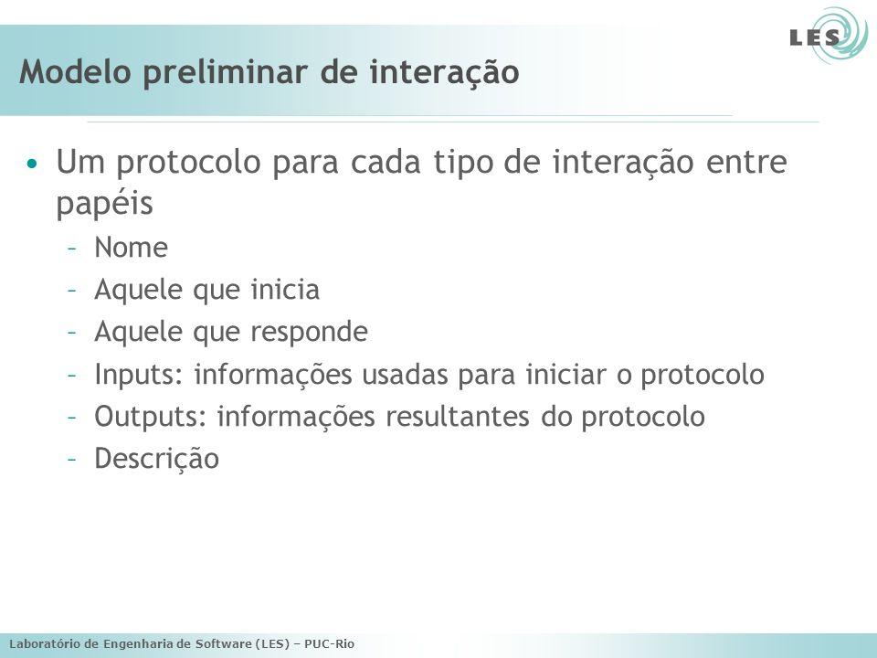Laboratório de Engenharia de Software (LES) – PUC-Rio Modelo preliminar de interação Um protocolo para cada tipo de interação entre papéis –Nome –Aquele que inicia –Aquele que responde –Inputs: informações usadas para iniciar o protocolo –Outputs: informações resultantes do protocolo –Descrição