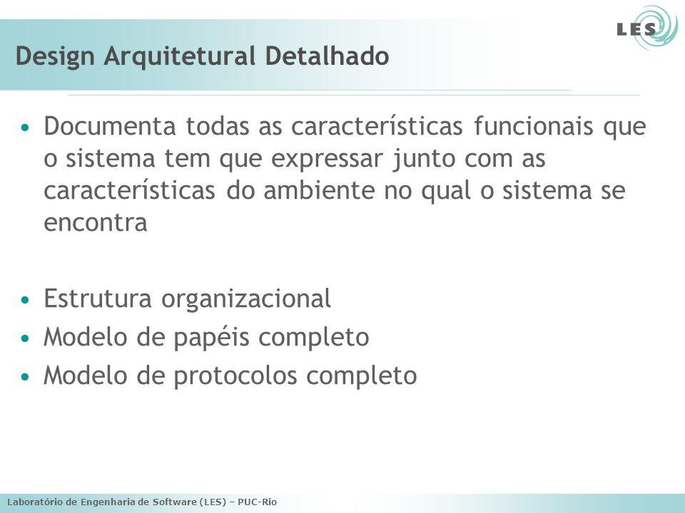 Laboratório de Engenharia de Software (LES) – PUC-Rio Design Arquitetural Detalhado Documenta todas as características funcionais que o sistema tem que expressar junto com as características do ambiente no qual o sistema se encontra Estrutura organizacional Modelo de papéis completo Modelo de protocolos completo