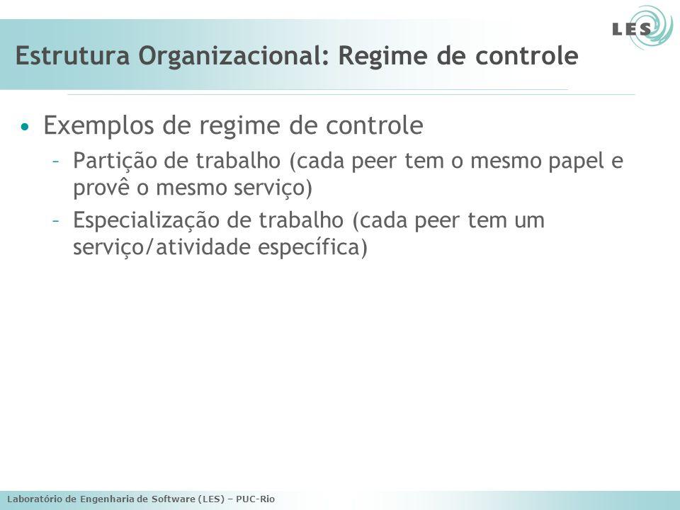 Laboratório de Engenharia de Software (LES) – PUC-Rio Estrutura Organizacional: Regime de controle Exemplos de regime de controle –Partição de trabalho (cada peer tem o mesmo papel e provê o mesmo serviço) –Especialização de trabalho (cada peer tem um serviço/atividade específica)
