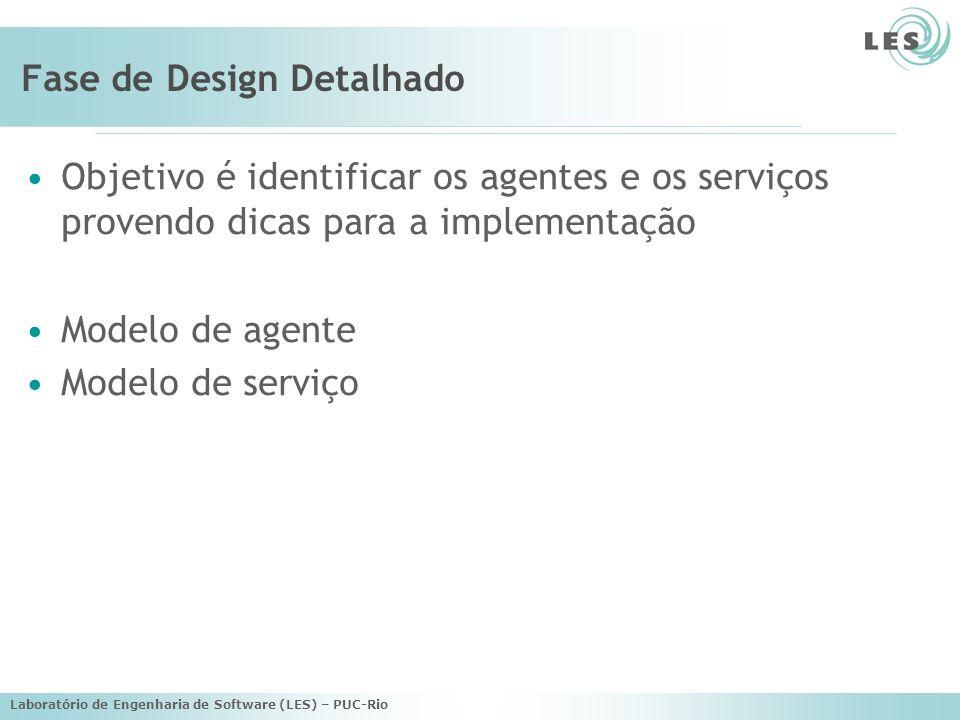 Laboratório de Engenharia de Software (LES) – PUC-Rio Fase de Design Detalhado Objetivo é identificar os agentes e os serviços provendo dicas para a implementação Modelo de agente Modelo de serviço