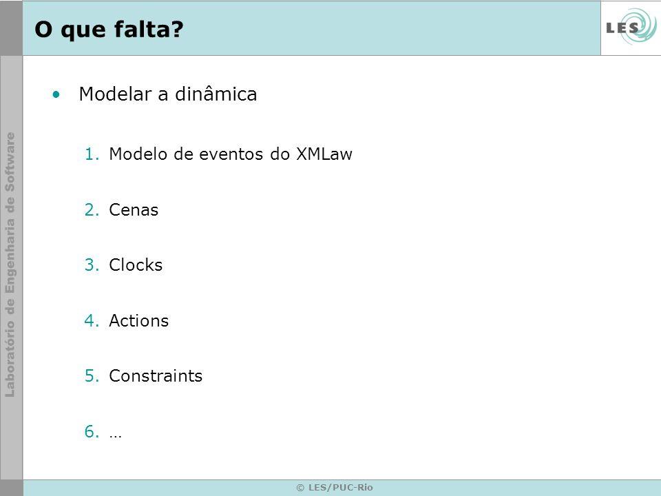 © LES/PUC-Rio O que falta? Modelar a dinâmica 1.Modelo de eventos do XMLaw 2.Cenas 3.Clocks 4.Actions 5.Constraints 6.…