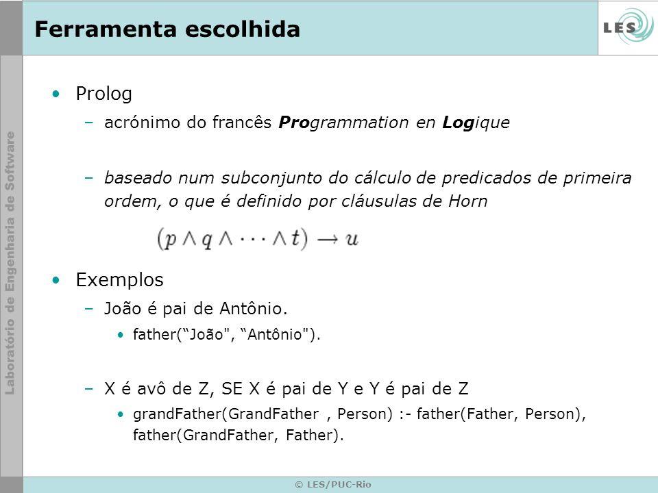© LES/PUC-Rio Ferramenta escolhida Prolog –acrónimo do francês Programmation en Logique –baseado num subconjunto do cálculo de predicados de primeira