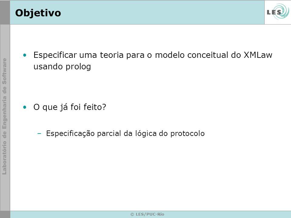 © LES/PUC-Rio Objetivo Especificar uma teoria para o modelo conceitual do XMLaw usando prolog O que já foi feito? –Especificação parcial da lógica do