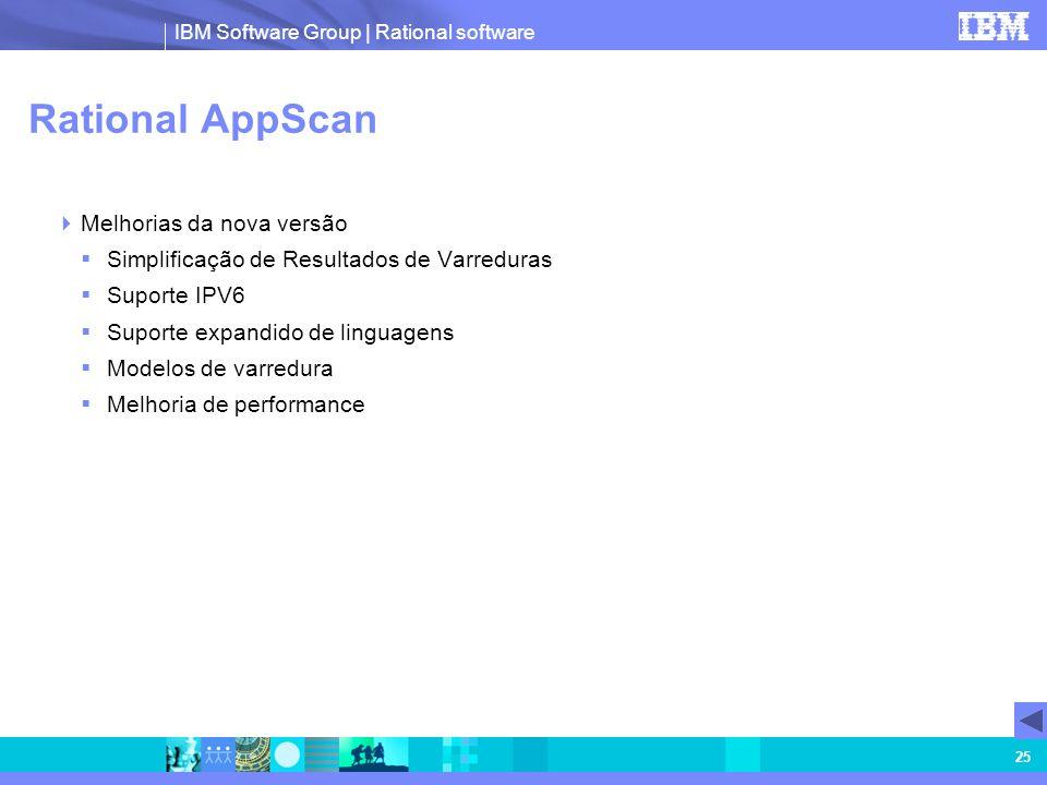 IBM Software Group | Rational software 25 Rational AppScan Melhorias da nova versão Simplificação de Resultados de Varreduras Suporte IPV6 Suporte exp