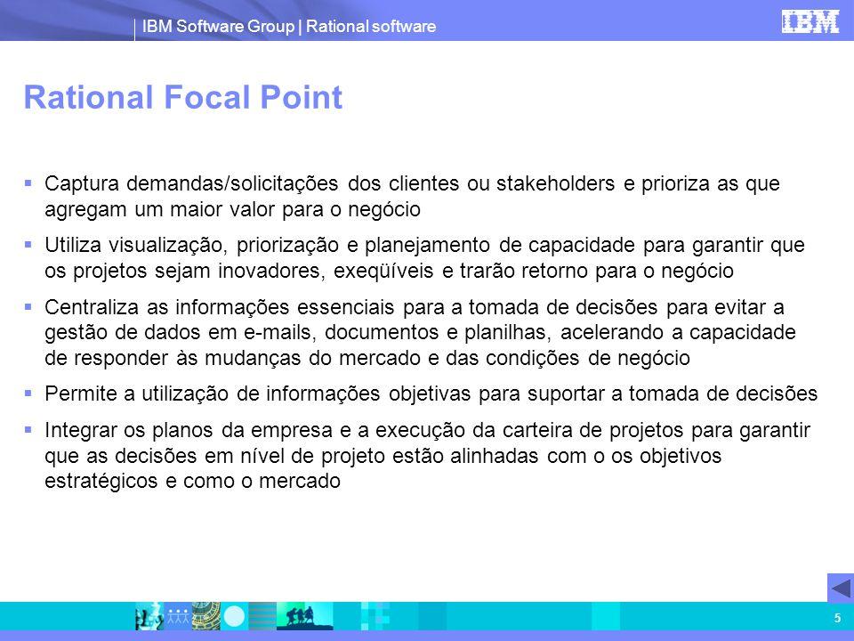 IBM Software Group | Rational software 5 Rational Focal Point Captura demandas/solicitações dos clientes ou stakeholders e prioriza as que agregam um