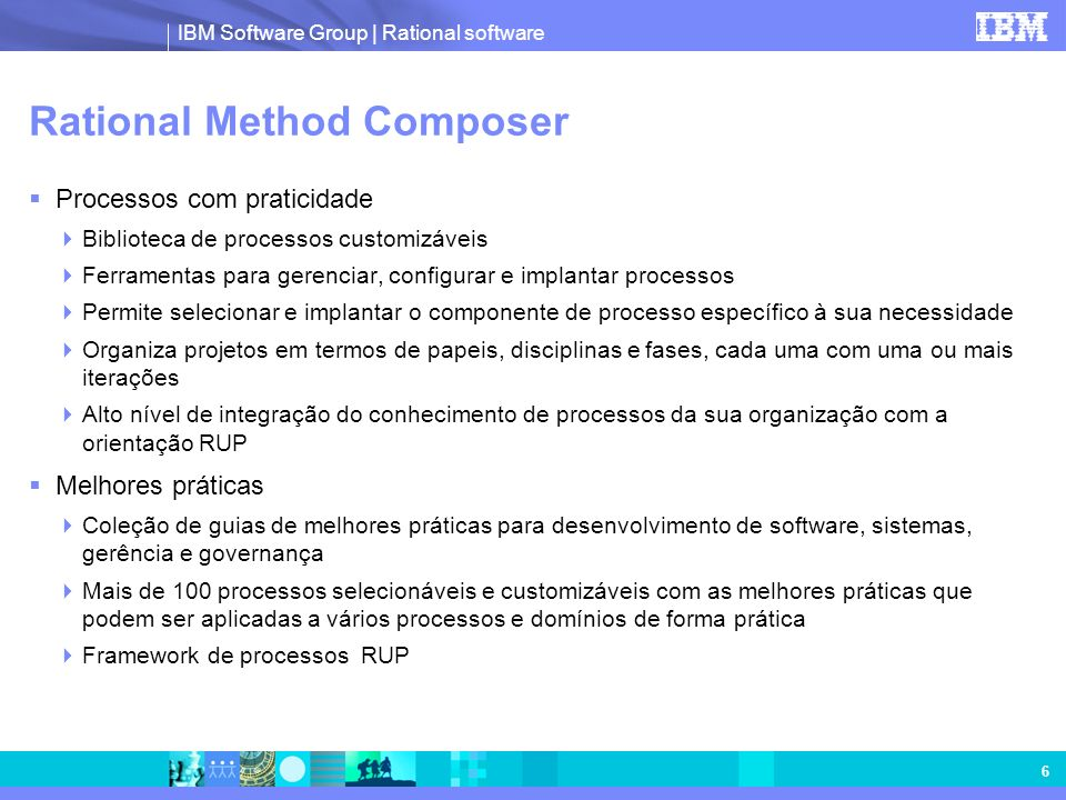IBM Software Group | Rational software 6 Rational Method Composer Processos com praticidade Biblioteca de processos customizáveis Ferramentas para ger