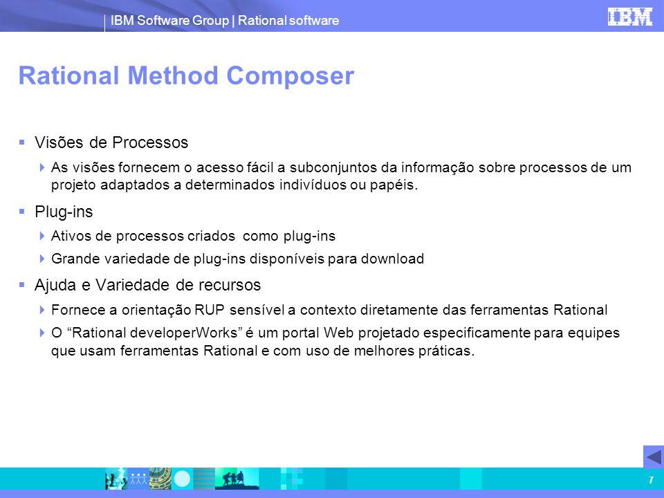 IBM Software Group | Rational software 7 Rational Method Composer Visões de Processos As visões fornecem o acesso fácil a subconjuntos da informação s