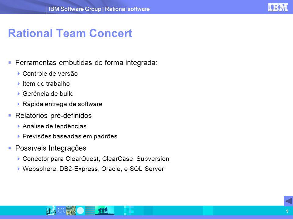 IBM Software Group | Rational software 9 Rational Team Concert Ferramentas embutidas de forma integrada: Controle de versão Item de trabalho Gerência