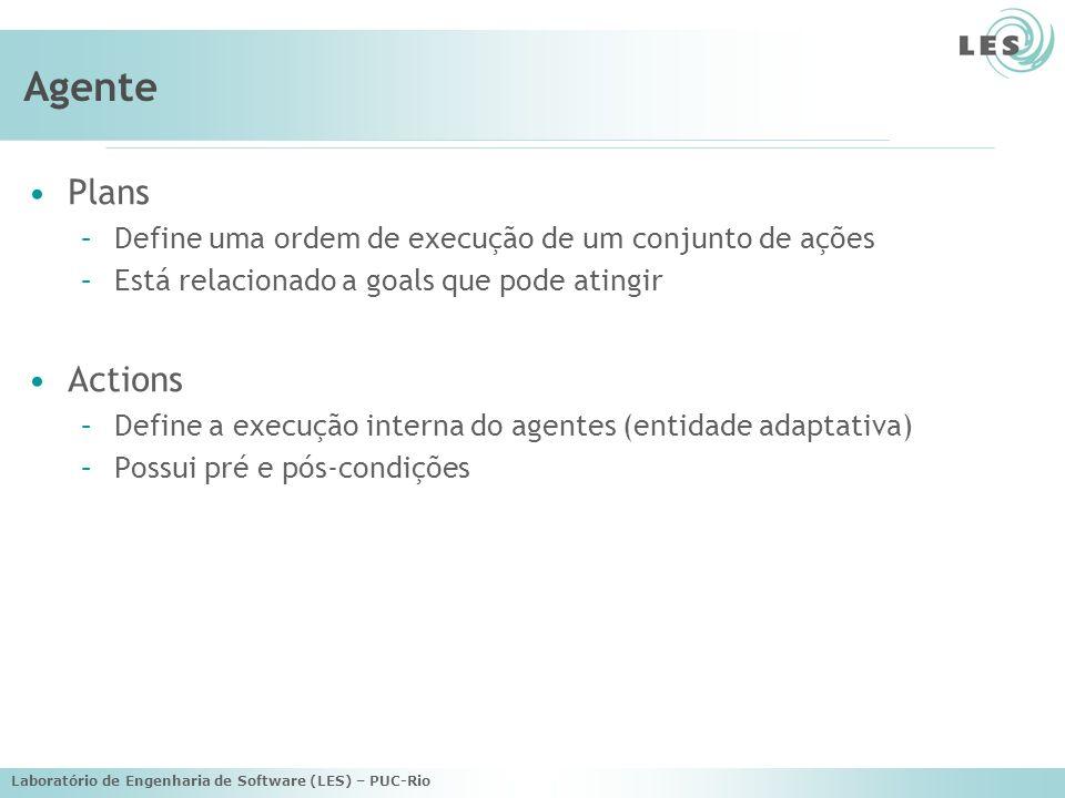 Laboratório de Engenharia de Software (LES) – PUC-Rio Agente Plans –Define uma ordem de execução de um conjunto de ações –Está relacionado a goals que pode atingir Actions –Define a execução interna do agentes (entidade adaptativa) –Possui pré e pós-condições