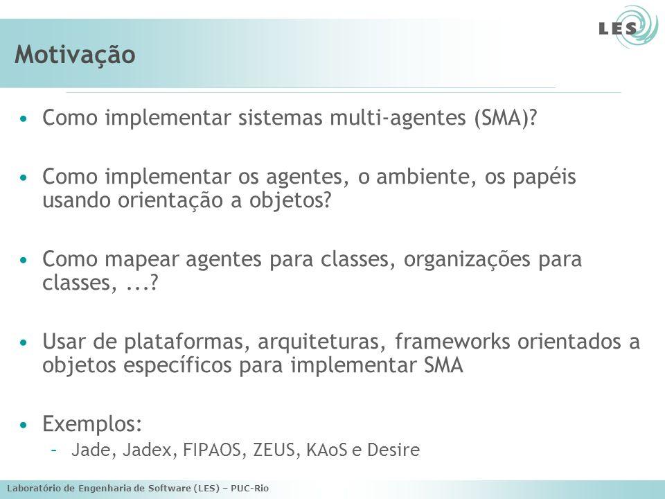 Laboratório de Engenharia de Software (LES) – PUC-Rio Motivação Como implementar sistemas multi-agentes (SMA).