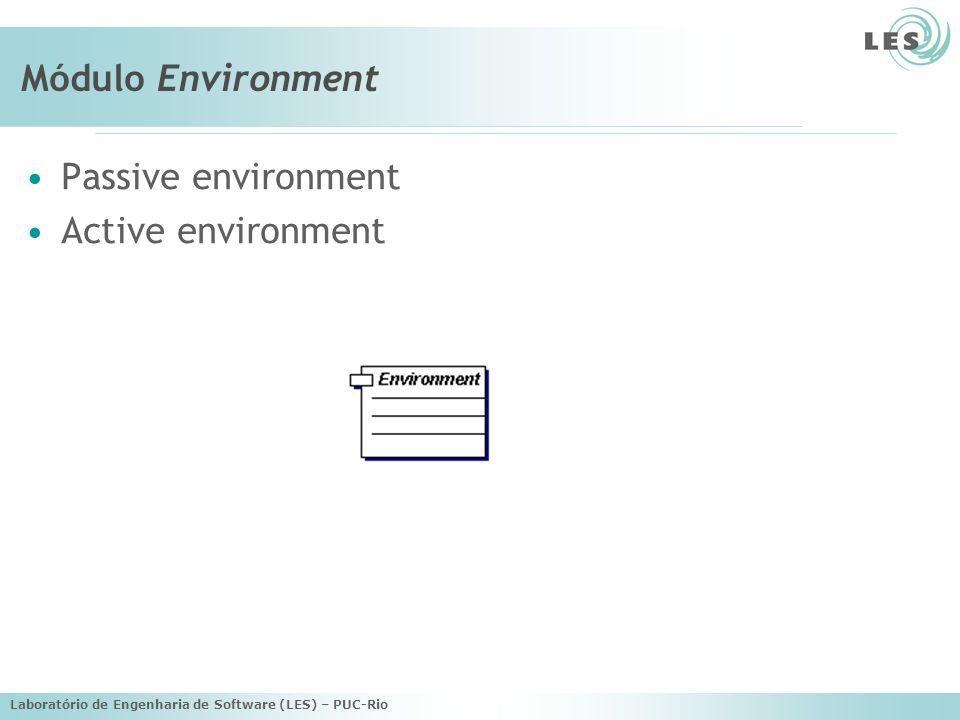 Laboratório de Engenharia de Software (LES) – PUC-Rio Módulo Environment Passive environment Active environment