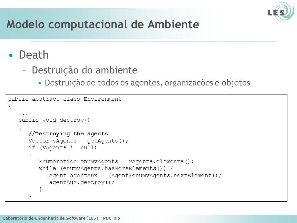 Laboratório de Engenharia de Software (LES) – PUC-Rio Modelo computacional de Ambiente public abstract class Environment {...