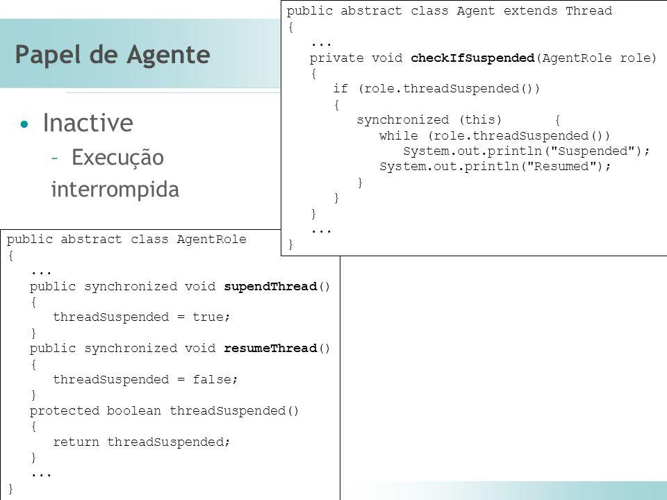 Laboratório de Engenharia de Software (LES) – PUC-Rio Papel de Agente Inactive –Execução interrompida public abstract class AgentRole {...