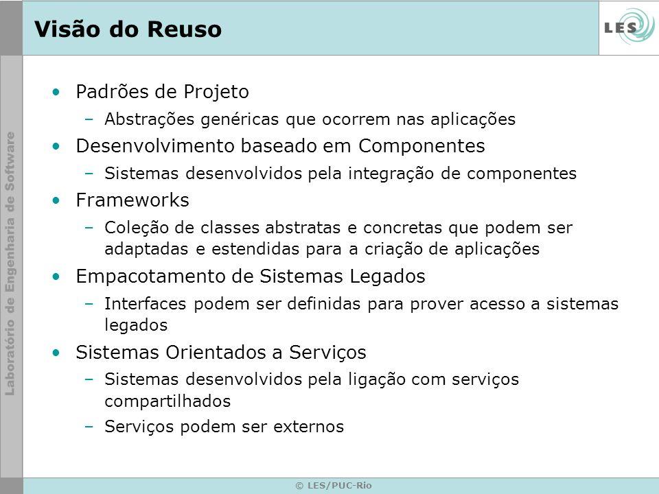 © LES/PUC-Rio Visão do Reuso Padrões de Projeto –Abstrações genéricas que ocorrem nas aplicações Desenvolvimento baseado em Componentes –Sistemas dese