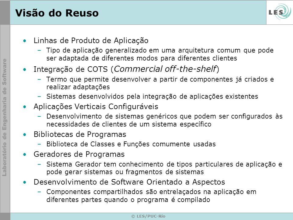 © LES/PUC-Rio Visão do Reuso Linhas de Produto de Aplicação –Tipo de aplicação generalizado em uma arquitetura comum que pode ser adaptada de diferent