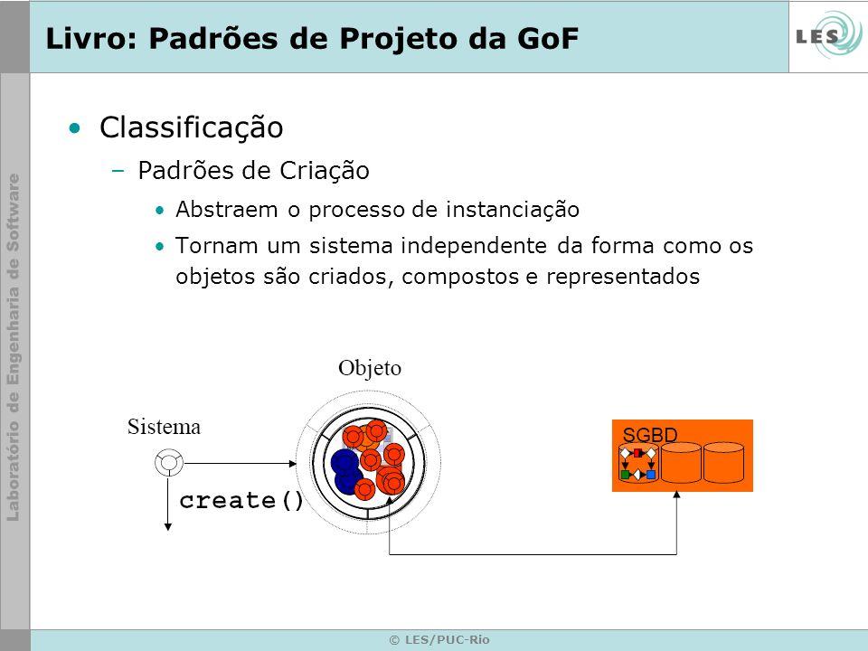 © LES/PUC-Rio Livro: Padrões de Projeto da GoF Classificação –Padrões de Criação Abstraem o processo de instanciação Tornam um sistema independente da