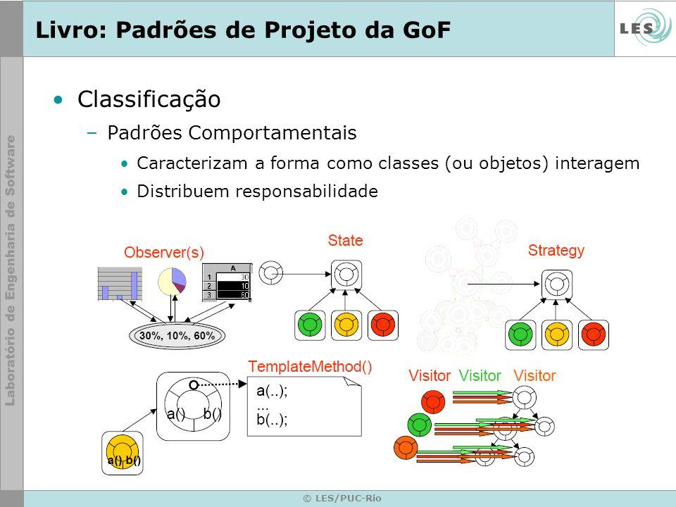 © LES/PUC-Rio Livro: Padrões de Projeto da GoF Classificação –Padrões Comportamentais Caracterizam a forma como classes (ou objetos) interagem Distrib