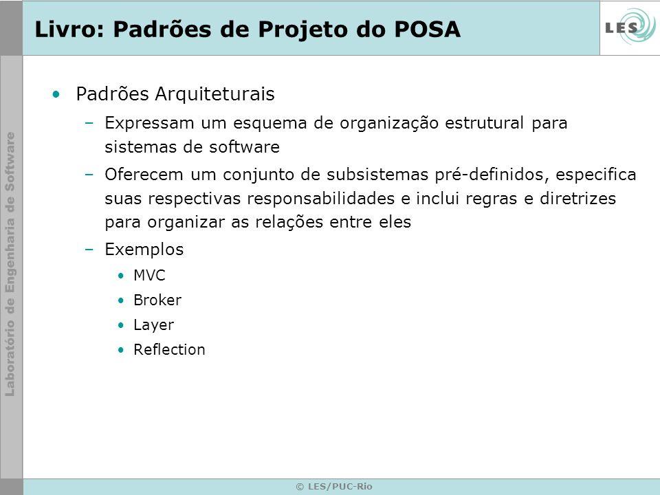 © LES/PUC-Rio Livro: Padrões de Projeto do POSA Padrões Arquiteturais –Expressam um esquema de organização estrutural para sistemas de software –Ofere