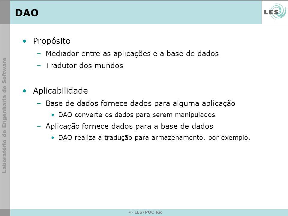 © LES/PUC-Rio DAO Propósito –Mediador entre as aplicações e a base de dados –Tradutor dos mundos Aplicabilidade –Base de dados fornece dados para algu
