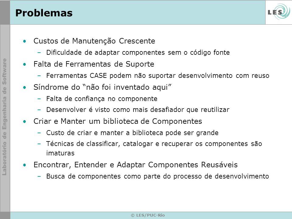 © LES/PUC-Rio Problemas Custos de Manutenção Crescente –Dificuldade de adaptar componentes sem o código fonte Falta de Ferramentas de Suporte –Ferrame