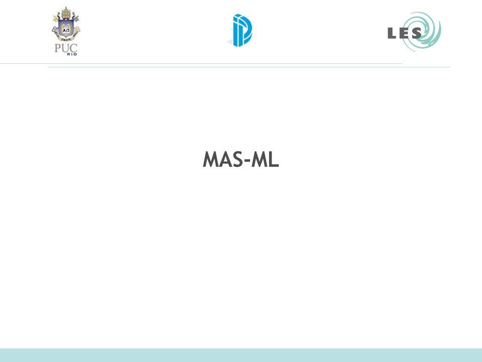 Laboratório de Engenharia de Software (LES) – PUC-Rio MAS-ML Estende o meta-modelo de UML com base no framework conceitual TAO Meta-modelo MAS-ML estende o meta-modelo de UML –Novos estereótipos –Novas meta-classes