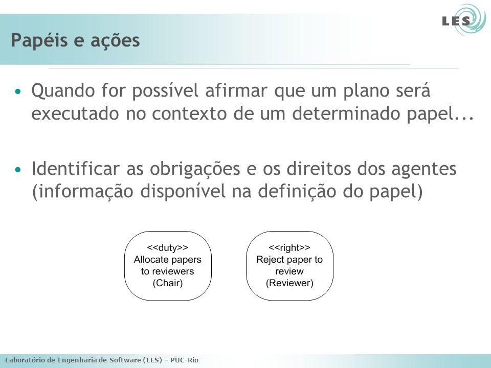 Laboratório de Engenharia de Software (LES) – PUC-Rio Papéis e ações Quando for possível afirmar que um plano será executado no contexto de um determi