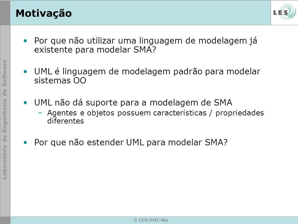 © LES/PUC-Rio AUML – Agent UML Primeiro objetivo era especificar protocolos de interação entre agentes (AIP) 1o passo foi estender diagrama de seqüência de UML para modelar as interações entre agentes Extensões para UML 1.3 (2001/2002) e UML 2.0 (2005)