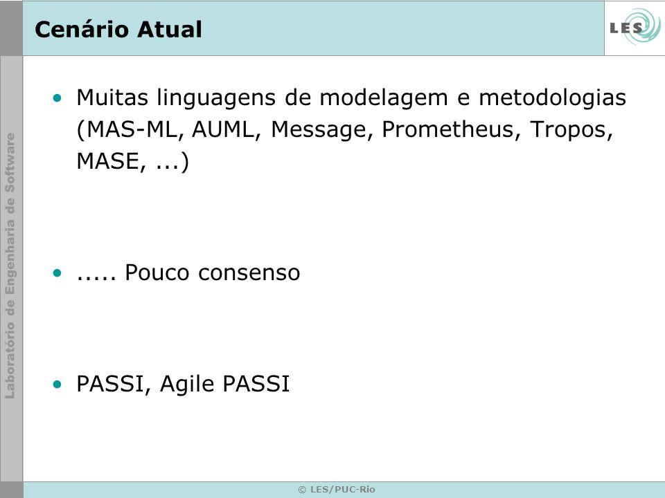 © LES/PUC-Rio Cenário Atual Muitas linguagens de modelagem e metodologias (MAS-ML, AUML, Message, Prometheus, Tropos, MASE,...)..... Pouco consenso PA