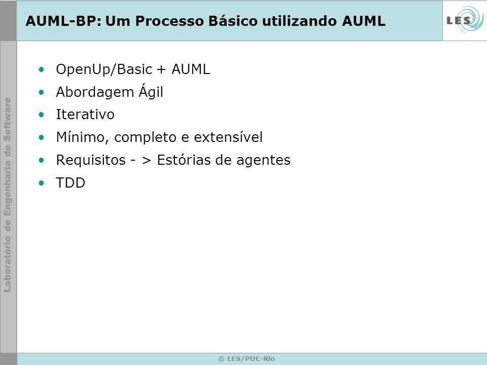 © LES/PUC-Rio OpenUp/Basic + AUML Abordagem Ágil Iterativo Mínimo, completo e extensível Requisitos - > Estórias de agentes TDD AUML-BP: Um Processo B