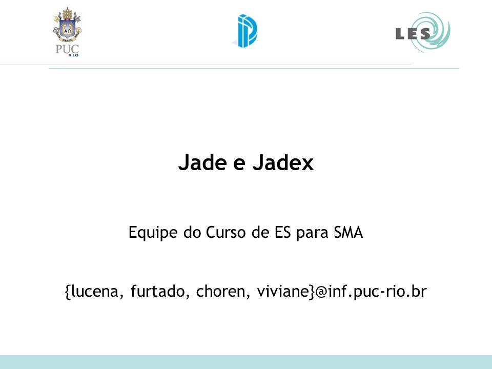 Jade e Jadex Equipe do Curso de ES para SMA {lucena, furtado, choren, viviane}@inf.puc-rio.br