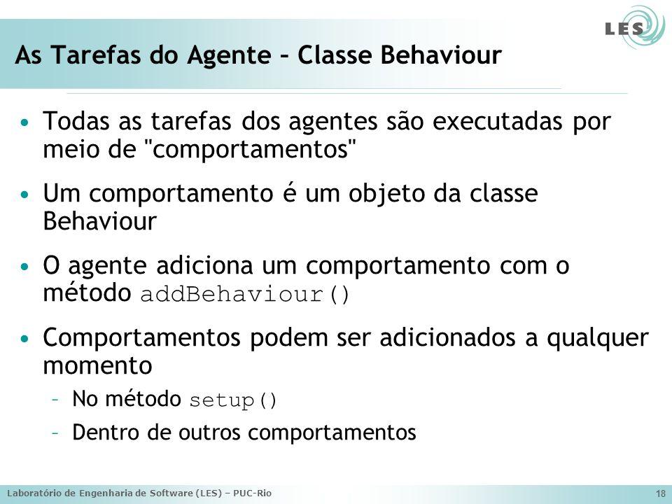 Laboratório de Engenharia de Software (LES) – PUC-Rio 18 As Tarefas do Agente – Classe Behaviour Todas as tarefas dos agentes são executadas por meio