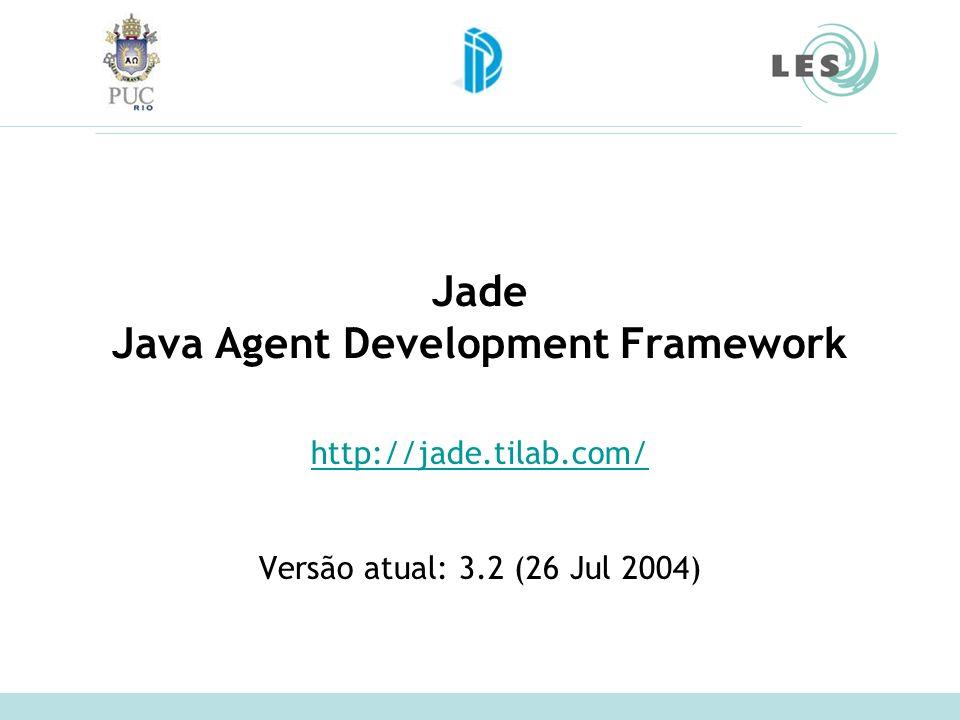 Jade Java Agent Development Framework http://jade.tilab.com/ Versão atual: 3.2 (26 Jul 2004)