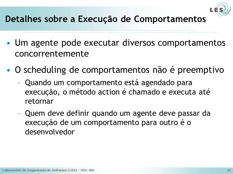 Laboratório de Engenharia de Software (LES) – PUC-Rio 21 Detalhes sobre a Execução de Comportamentos Um agente pode executar diversos comportamentos c