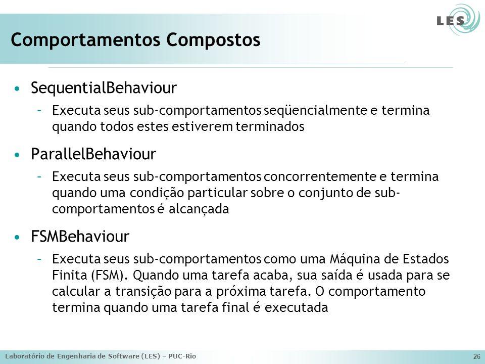 Laboratório de Engenharia de Software (LES) – PUC-Rio 26 Comportamentos Compostos SequentialBehaviour –Executa seus sub-comportamentos seqüencialmente