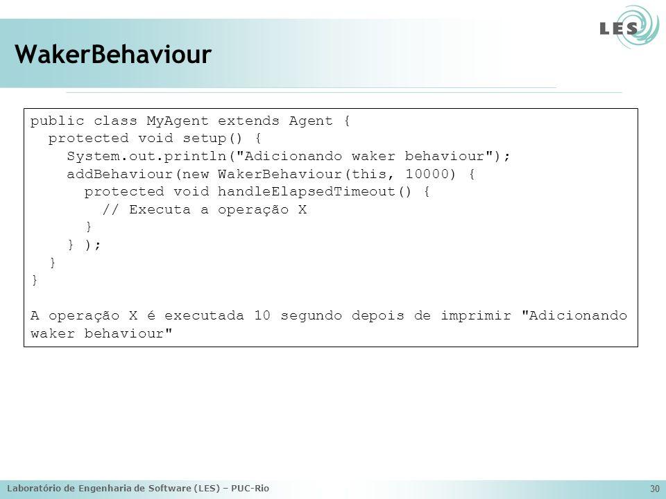 Laboratório de Engenharia de Software (LES) – PUC-Rio 30 WakerBehaviour public class MyAgent extends Agent { protected void setup() { System.out.print