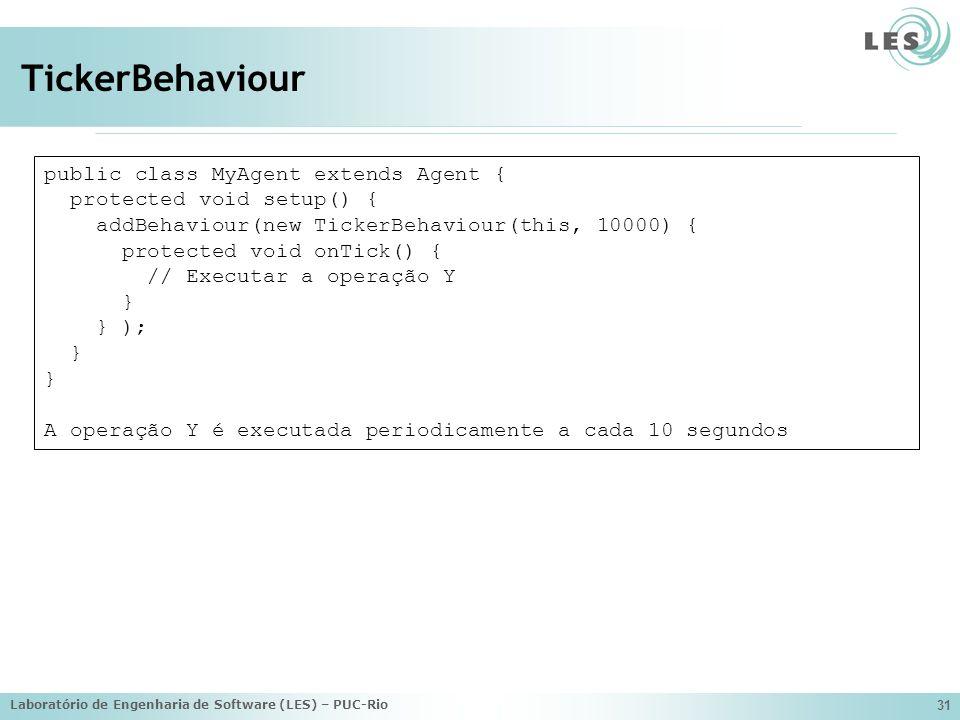 Laboratório de Engenharia de Software (LES) – PUC-Rio 31 TickerBehaviour public class MyAgent extends Agent { protected void setup() { addBehaviour(ne