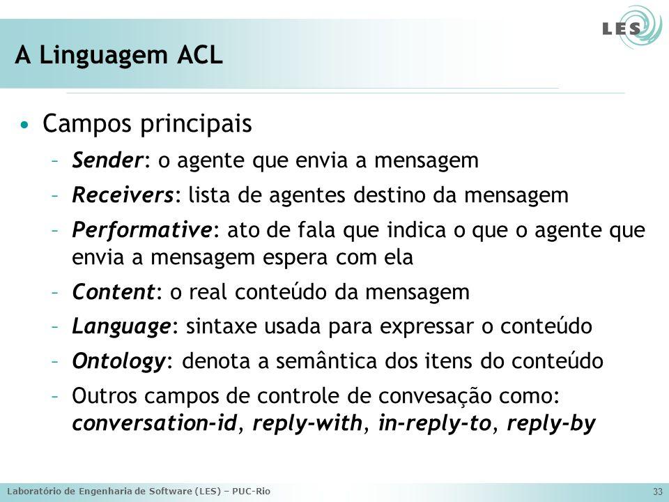 Laboratório de Engenharia de Software (LES) – PUC-Rio 33 A Linguagem ACL Campos principais –Sender: o agente que envia a mensagem –Receivers: lista de