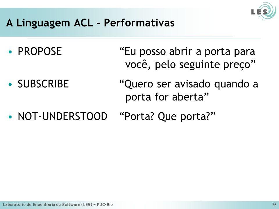 Laboratório de Engenharia de Software (LES) – PUC-Rio 36 A Linguagem ACL – Performativas PROPOSEEu posso abrir a porta para você, pelo seguinte preço