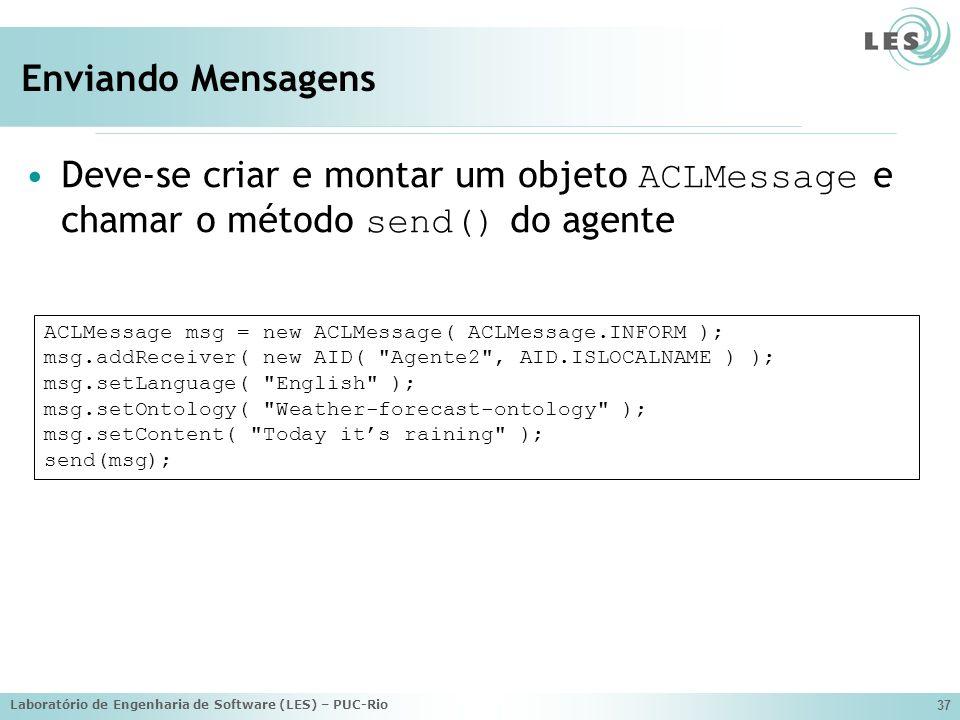 Laboratório de Engenharia de Software (LES) – PUC-Rio 37 Enviando Mensagens Deve-se criar e montar um objeto ACLMessage e chamar o método send() do ag