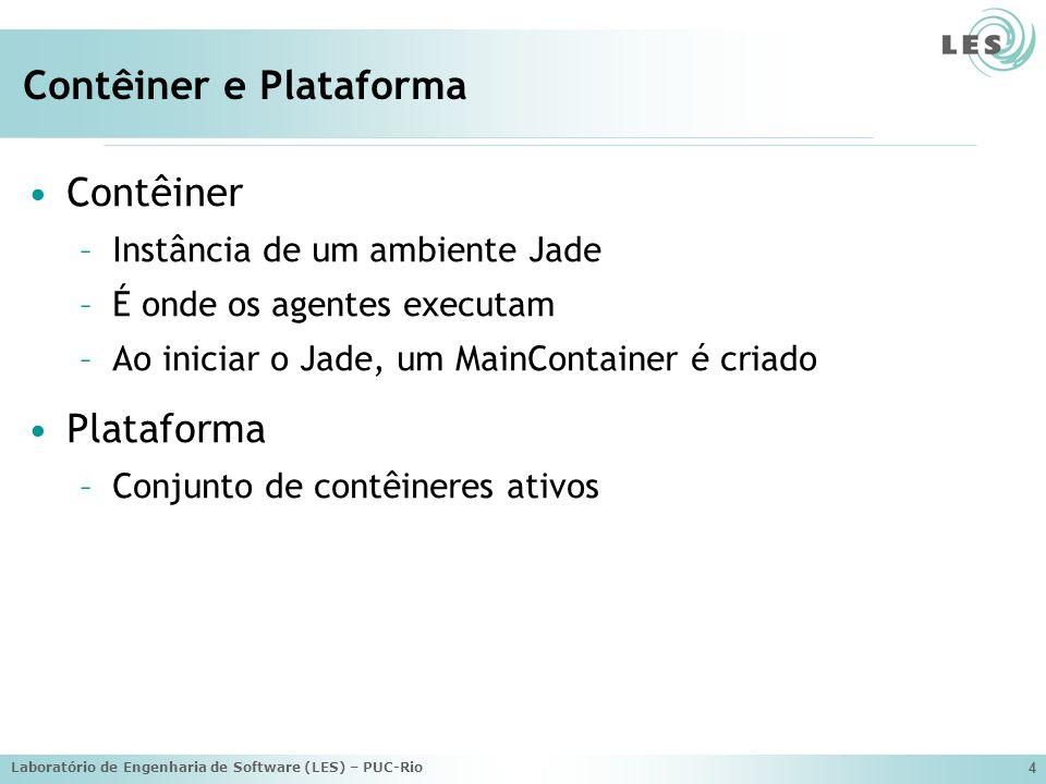 Laboratório de Engenharia de Software (LES) – PUC-Rio 4 Contêiner e Plataforma Contêiner –Instância de um ambiente Jade –É onde os agentes executam –A