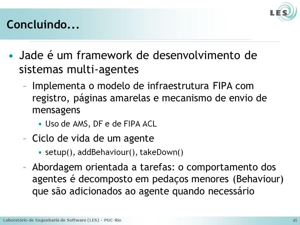 Laboratório de Engenharia de Software (LES) – PUC-Rio 45 Concluindo... Jade é um framework de desenvolvimento de sistemas multi-agentes –Implementa o