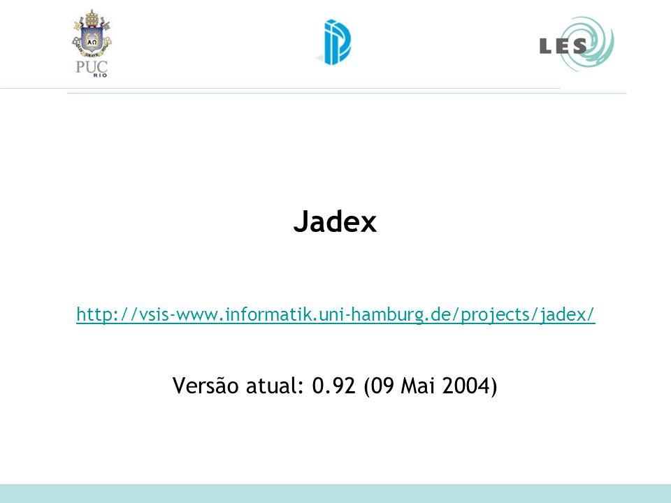 Jadex http://vsis-www.informatik.uni-hamburg.de/projects/jadex/ Versão atual: 0.92 (09 Mai 2004)
