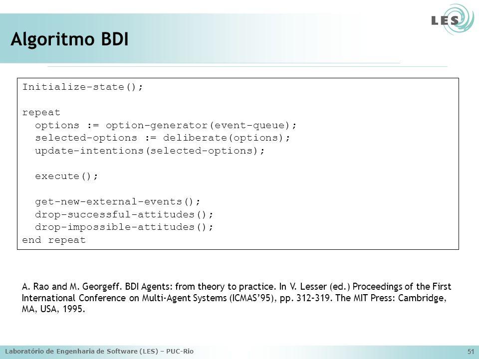 Laboratório de Engenharia de Software (LES) – PUC-Rio 51 Algoritmo BDI Initialize-state(); repeat options := option-generator(event-queue); selected-o