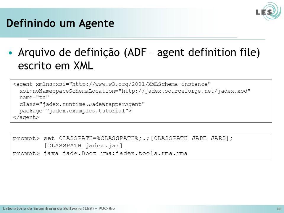 Laboratório de Engenharia de Software (LES) – PUC-Rio 55 Definindo um Agente Arquivo de definição (ADF – agent definition file) escrito em XML <agent