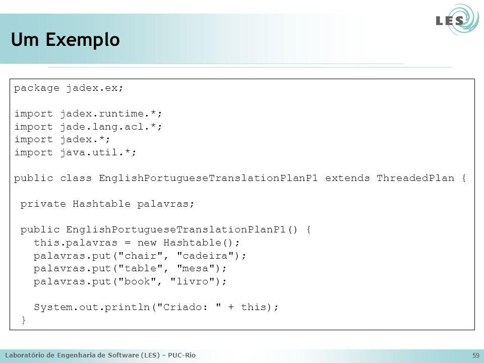Laboratório de Engenharia de Software (LES) – PUC-Rio 59 Um Exemplo package jadex.ex; import jadex.runtime.*; import jade.lang.acl.*; import jadex.*;