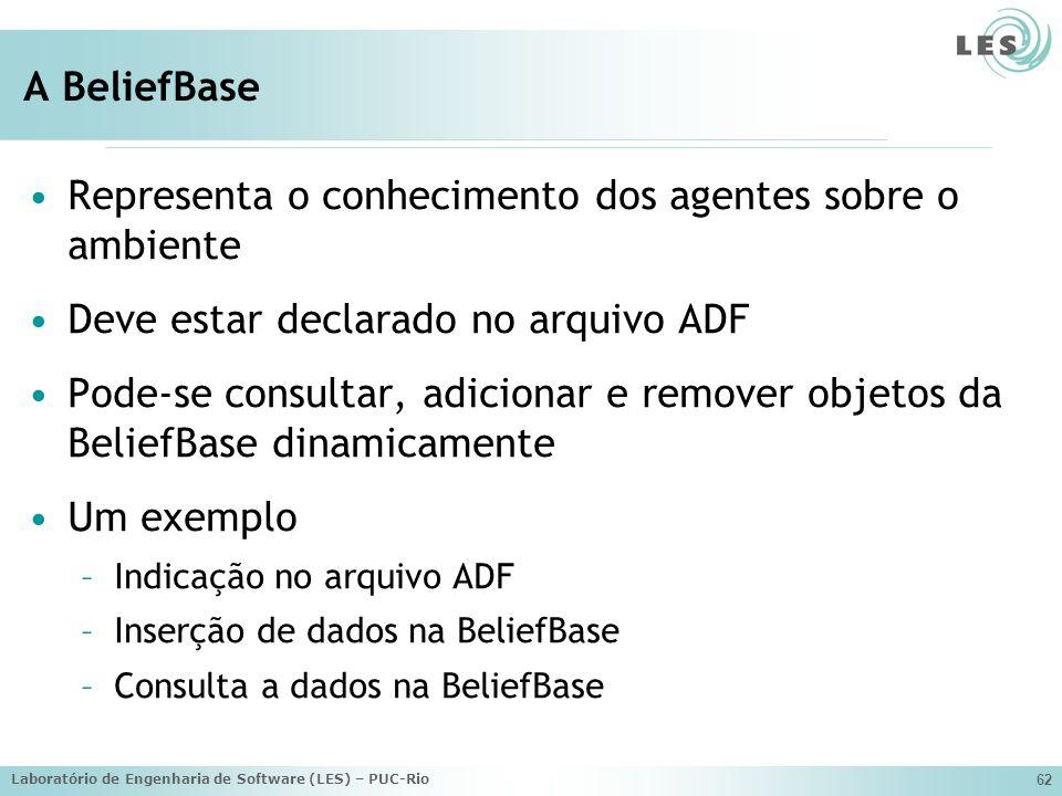 Laboratório de Engenharia de Software (LES) – PUC-Rio 62 A BeliefBase Representa o conhecimento dos agentes sobre o ambiente Deve estar declarado no a