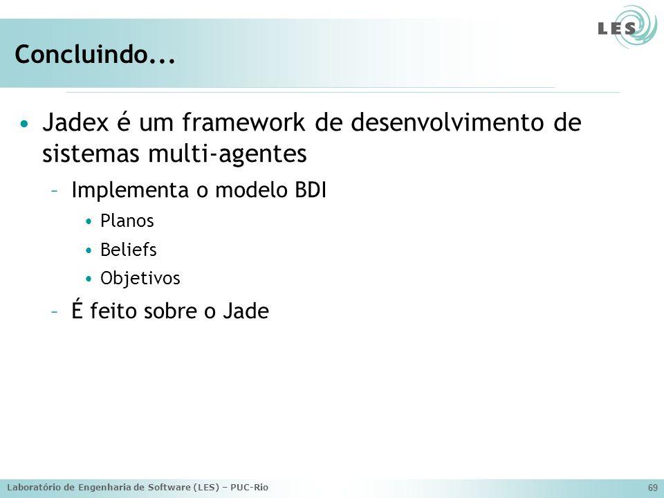 Laboratório de Engenharia de Software (LES) – PUC-Rio 69 Concluindo... Jadex é um framework de desenvolvimento de sistemas multi-agentes –Implementa o