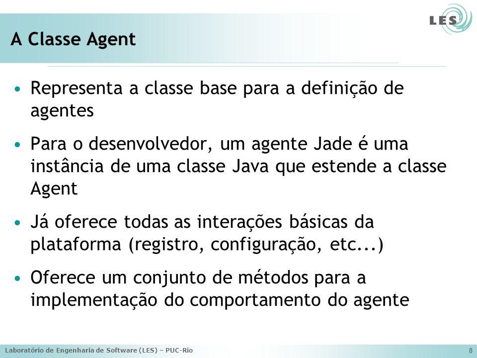 Laboratório de Engenharia de Software (LES) – PUC-Rio 8 A Classe Agent Representa a classe base para a definição de agentes Para o desenvolvedor, um a