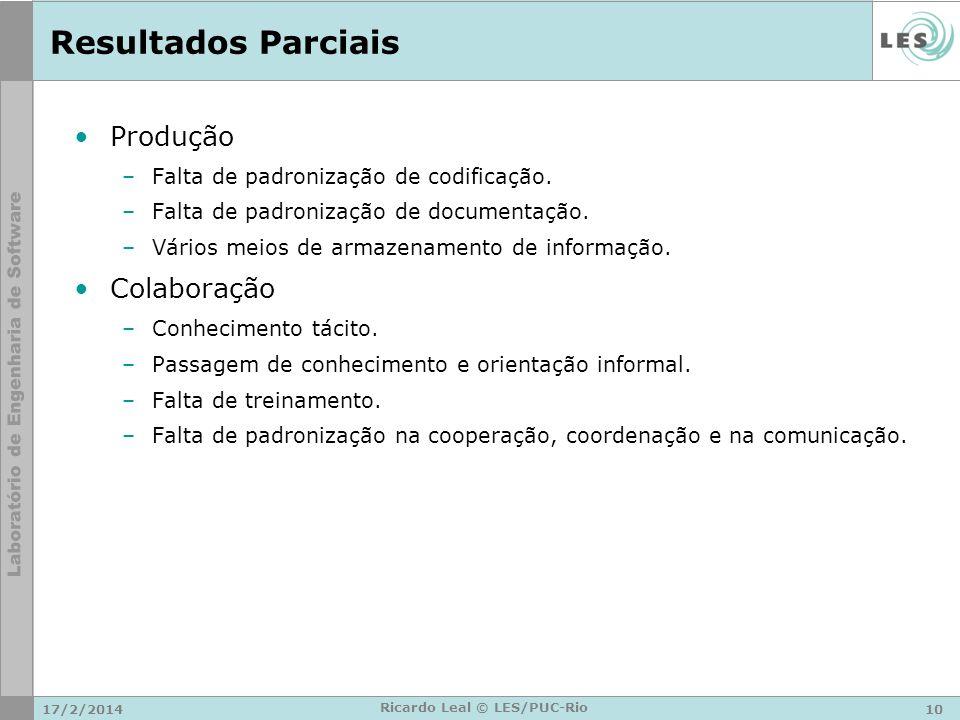 Resultados Parciais Produção –Falta de padronização de codificação.